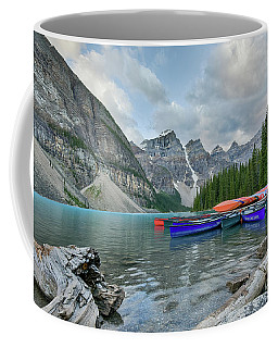 Moraine Logs And Canoes Coffee Mug
