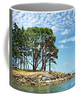 Morning Beach Arbutus Trees Coffee Mug