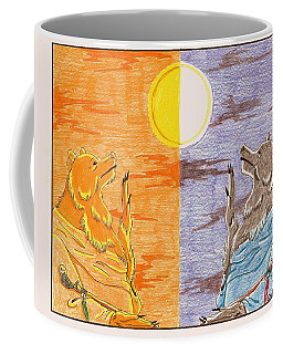 Morning Bear Greets The Sun, Evening Bear Greets The Moon Coffee Mug by Wendy Coulson
