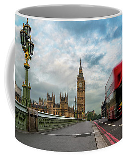 Coffee Mug featuring the photograph Morning Bus In London by James Udall