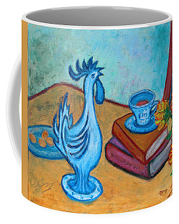 Coffee Mug featuring the painting Morning Coffee Rooster by Xueling Zou
