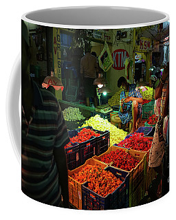 Coffee Mug featuring the photograph Morning Flower Market Colors by Mike Reid