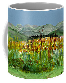 Coffee Mug featuring the painting Morning In Backyard At Barton by Donna Walsh