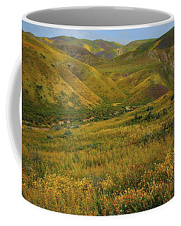 Morning Light On Wildflowers Of The Temblor Range At Carrizo Plain National Monument Coffee Mug