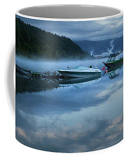 Morning Mist Adams Lake Coffee Mug by Theresa Tahara