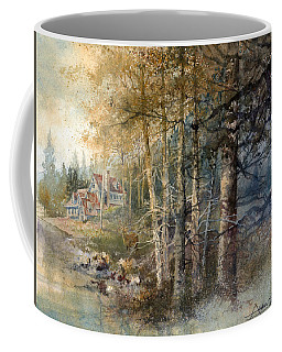 Coffee Mug featuring the painting Morning River by Andrew King