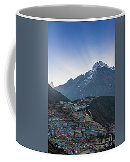 Coffee Mug featuring the photograph Morning Sunrays Namche by Mike Reid