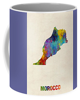 Coffee Mug featuring the digital art Morocco Watercolor Map by Michael Tompsett