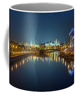 Coffee Mug featuring the photograph Moscow Kremlin At Night by Alexey Kljatov
