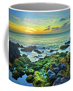 Coffee Mug featuring the photograph Moss Covered Rocks At Sunset In Molokai by Tara Turner