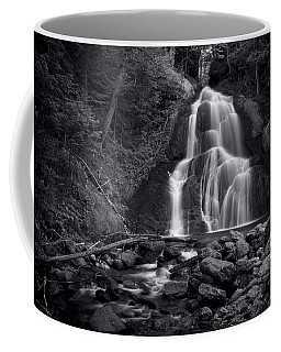 Coffee Mug featuring the photograph Moss Glen Falls - Monochrome by Stephen Stookey