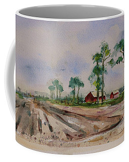 Coffee Mug featuring the painting Moss Landing Pine Trees Farm California Landscape 2 by Xueling Zou