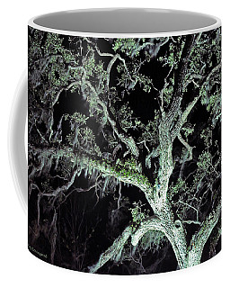 Coffee Mug featuring the photograph Mossy Tree At Night by Kay Lovingood