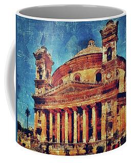 Coffee Mug featuring the digital art Mosta Church by Leigh Kemp