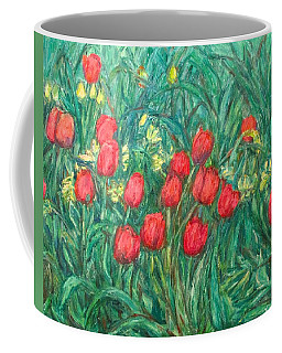 Coffee Mug featuring the painting Mostly Tulips by Kendall Kessler