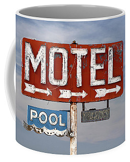 Coffee Mug featuring the photograph Motel And Pool Sign Route 66 by Carol Leigh