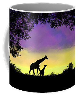 Mother And Baby Giraffe At Sunset Coffee Mug