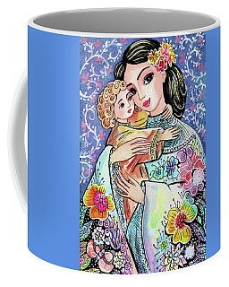 Woman And Child In Flowers Coffee Mug