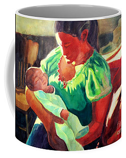 Coffee Mug featuring the painting Mother And Child In Red2 by Kathy Braud