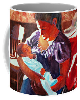Coffee Mug featuring the painting Mother And Newborn Child by Kathy Braud