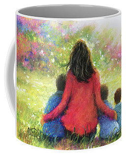 Mother And Three Sons In The Garden Coffee Mug