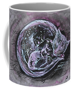 Coffee Mug featuring the painting Mother Cat With Kittens by Zaira Dzhaubaeva