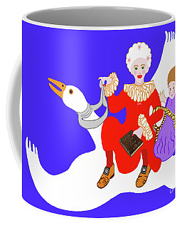 Mother Goose On Her Flying Goose Coffee Mug by Marian Cates
