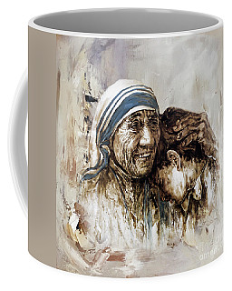 Coffee Mug featuring the painting Mother Teresa  by Gull G