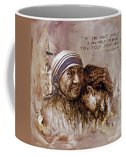 Coffee Mug featuring the painting Mother Teresa Of Calcutta  by Gull G