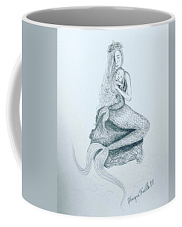 Coffee Mug featuring the drawing Motherhood Mermaid by Monique Faella