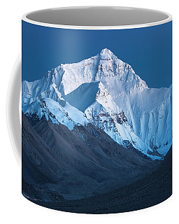 Coffee Mug featuring the photograph Mount Everest At Blue Hour, Rongbuk, 2007 by Hitendra SINKAR