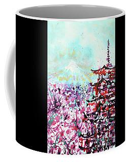 Coffee Mug featuring the painting Mount Fuji And The Chureito Pagoda In Spring by Zaira Dzhaubaeva
