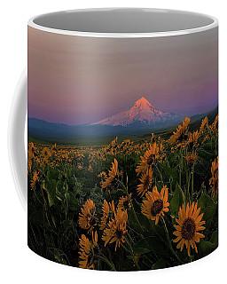 Mount Hood And Balsam Root Blooming In Spring Coffee Mug