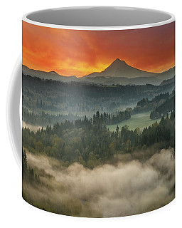 Mount Hood And Sandy River Valley Sunrise Coffee Mug