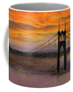 Mount Hood By St Johns Bridge During Sunrise Coffee Mug