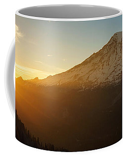 Mount Rainier Evening Light Rays Coffee Mug by Mike Reid