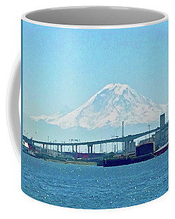 Mount Rainier From Seattle Harbor Coffee Mug