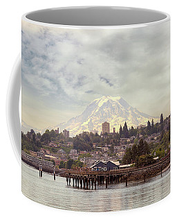 Mount Rainier Over City Of Tacoma Washington Coffee Mug