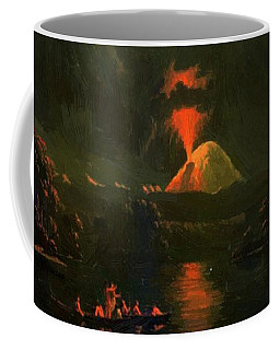 Mount St Helens Erupting At Night Coffee Mug