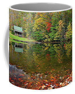 Mountain Cabin On The Pond Coffee Mug