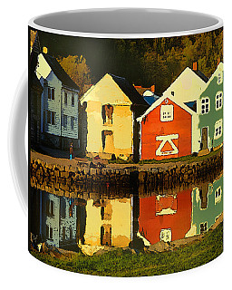 Coffee Mug featuring the digital art Mountain Cottages Reflected by Shelli Fitzpatrick
