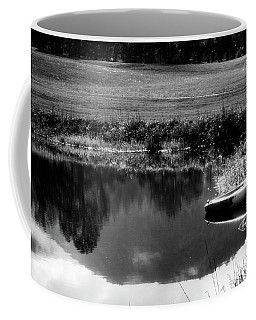 Mountain Kayak In Black And White Coffee Mug