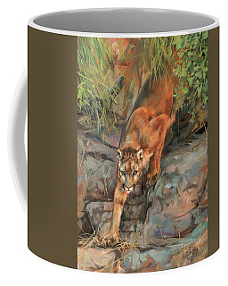 Coffee Mug featuring the painting Mountain Lion 2 by David Stribbling