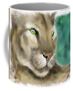 Coffee Mug featuring the digital art Mountain Lion by Darren Cannell