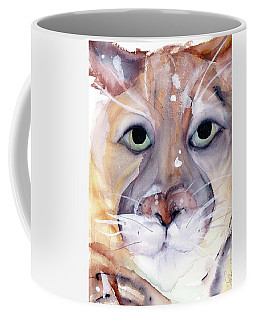 Coffee Mug featuring the painting Mountain Lion by Dawn Derman