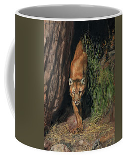 Mountain Lion Emerging From Shadows Coffee Mug by David Stribbling