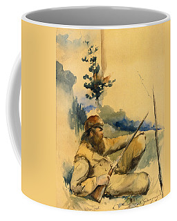 Coffee Mug featuring the drawing Mountain Man by Charles Schreyvogel