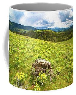 Mountain Meadow Impressionist Digital Art Coffee Mug