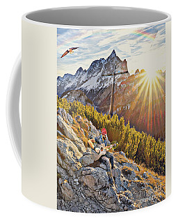 Coffee Mug featuring the mixed media Mountain Of The Lord by Jessica Eli