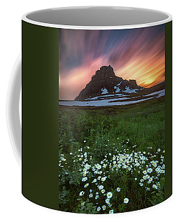 Coffee Mug featuring the photograph Mountain With Wildflowers And Sunset Clouds by William Lee